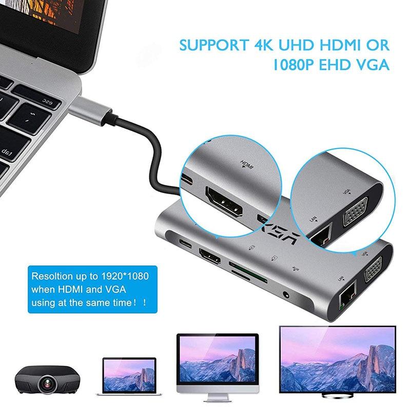 EKSA HUB USB 10 en 1 Thunderbolt 3 tipo C adaptador Dock 3 USB 3,0 Puerto 4 K HDMI 1080 P VGA RJ45 Gigabit Ethernet para el Macbook Pro - 5