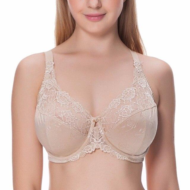 e86168e0a44b5 2019 Khaki white black Plus Size bra for Women Sexy Lace Bras 38E 40E 42E  44E 46D 46E Nude thin push up bra Lingerie bh bra B21