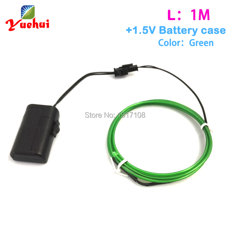1M Green EL Wire Tube Rope Flexible Neon Cold Light House Party Wedding clothes glowing Decoration Powered By DC-1.5V inverter