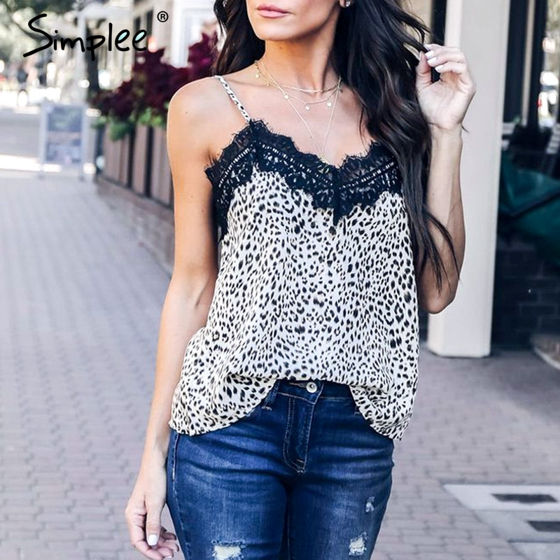 Simplee Sexy v-neck leopard print   top   women Spaghetti strap summer style cami   top   female Party plus size lace   top     tank     top   2019