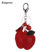 Lovely handbag fashion jewellery key chain Rhine stone Mosaic leather apple llavero gifts wholesale 5 color Free shipping