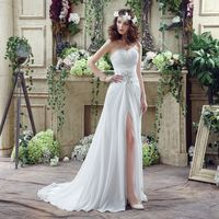 In Stock Cheap Pleated Chiffon Ivory Bridal Dress Split Skirt Wedding Gown Simple Beading White Summer