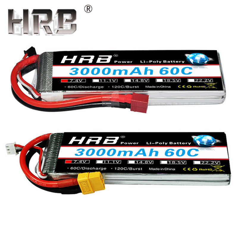 HRB 7.4V Lipo Battery 3000mAh 60C 2S XT60 Connectors 11.1V 3S T Deans 14.8V 18.5V 22.2V 4S 5S 6S For Airplane Drone Car RC Parts