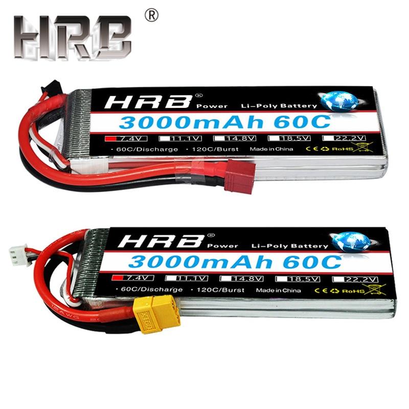 HRB 7.4V Lipo Battery 3000mAh 60C 2S XT60 Connectors 11.1V 3S T Deans 14.8V 18.5V 22.2V 4S 5S 6S For Airplane Drone Car RC Parts