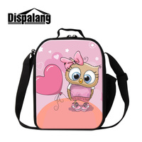 Dispalang 3D Cartoon Heart Printing Insulated Kid Lunch Bag Animal Owl Thermo Pack Lunch Box Cute