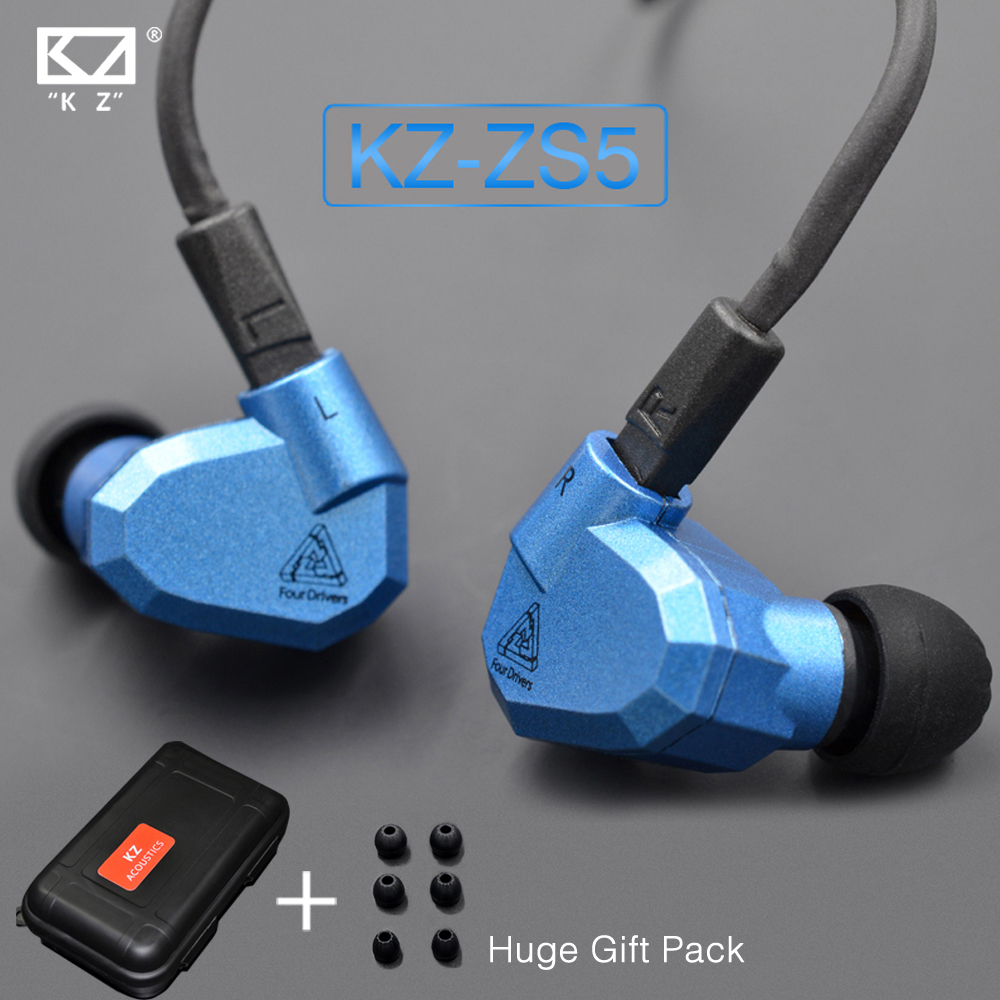 In Stock New Original KZ ZS5 2DD+2BA Hybrid In Ear Earphone HIFI DJ Monito Running Sport Earphones Earplug Headset Earbud in stock newest kz zs6 2dd 2ba hybrid in ear earphone hifi dj monitor running sport earphone earplug headset earbud kz zs5 pro