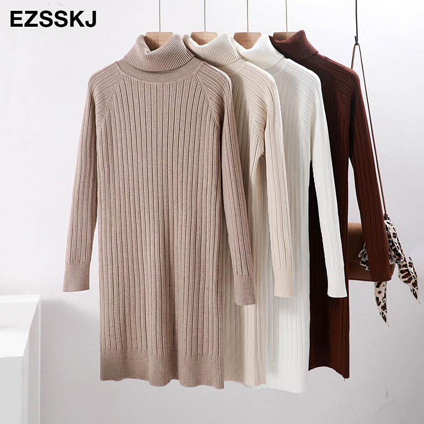 Autumn Winter short thick Sweater Dress Women turtleneck Long Sleeve straight Knit casual mini Dress female girl loose dress-in Dresses from Women's Clothing on AliExpress - 11.11_Double 11_Singles' Day 1