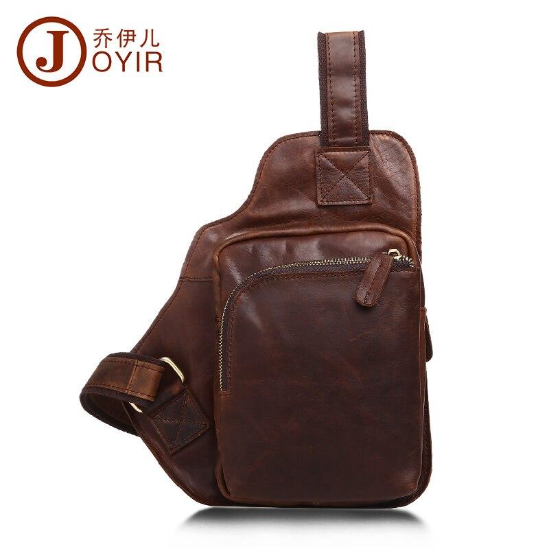 JOYIR Vintage men chest pack crazy horse leather crossbody chest bag small shoul
