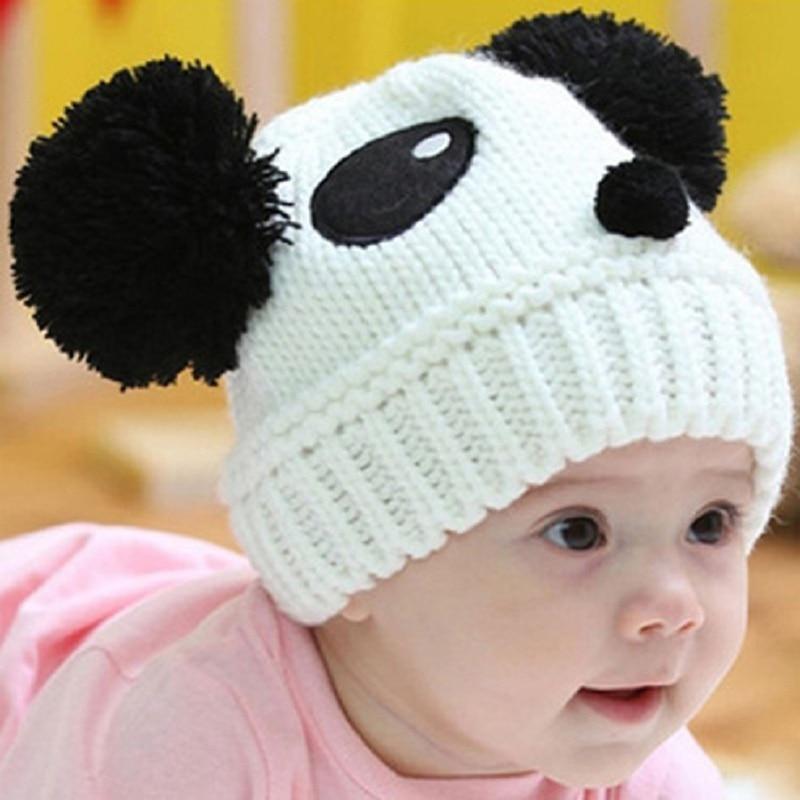 Winter Cute Animal Panda Baby Skullies Beanie Hat Knitted Hats Kids Winter Keep Warm Crochet Beanie Hats Casual Soft Warm Caps
