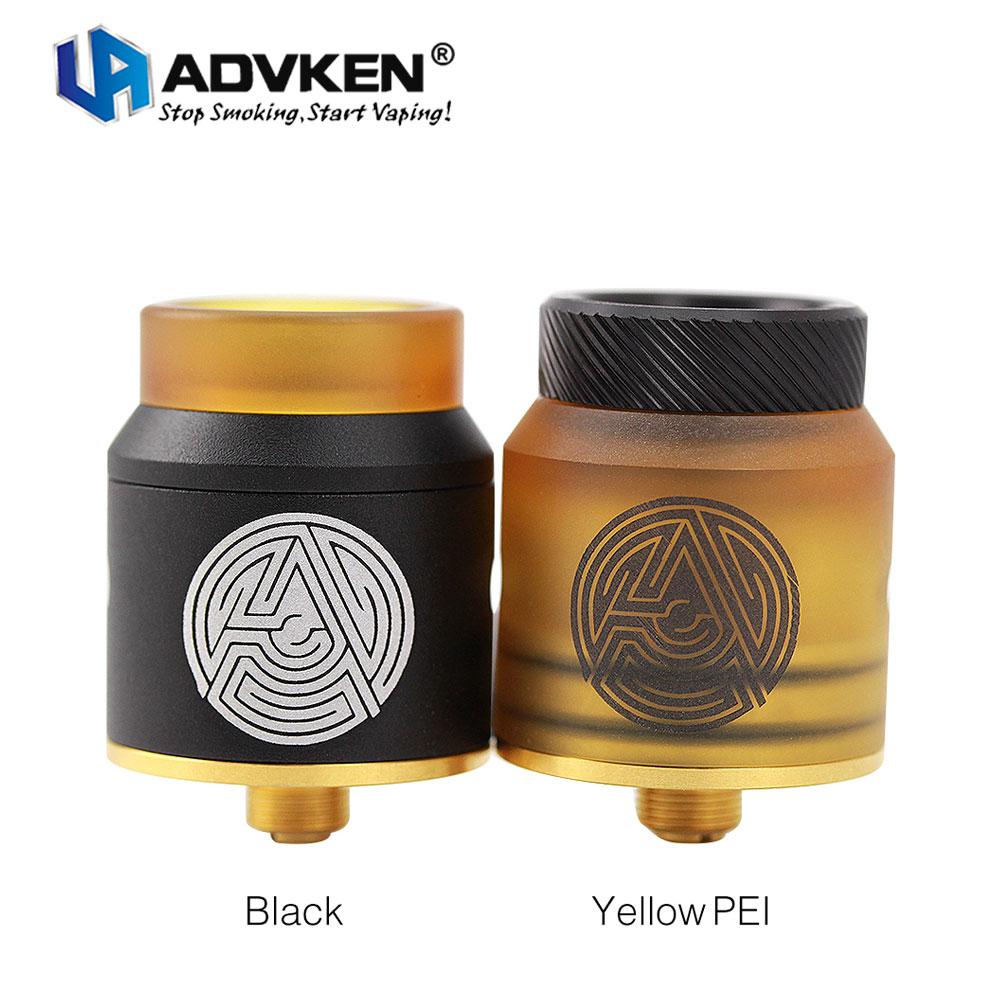 Originale Advken Artha RDA 24mm Diametro Serbatoio Dual-post Design & Gold-plated Costruire Deck E-cig Vape Atomizzatore per MODs Squonker