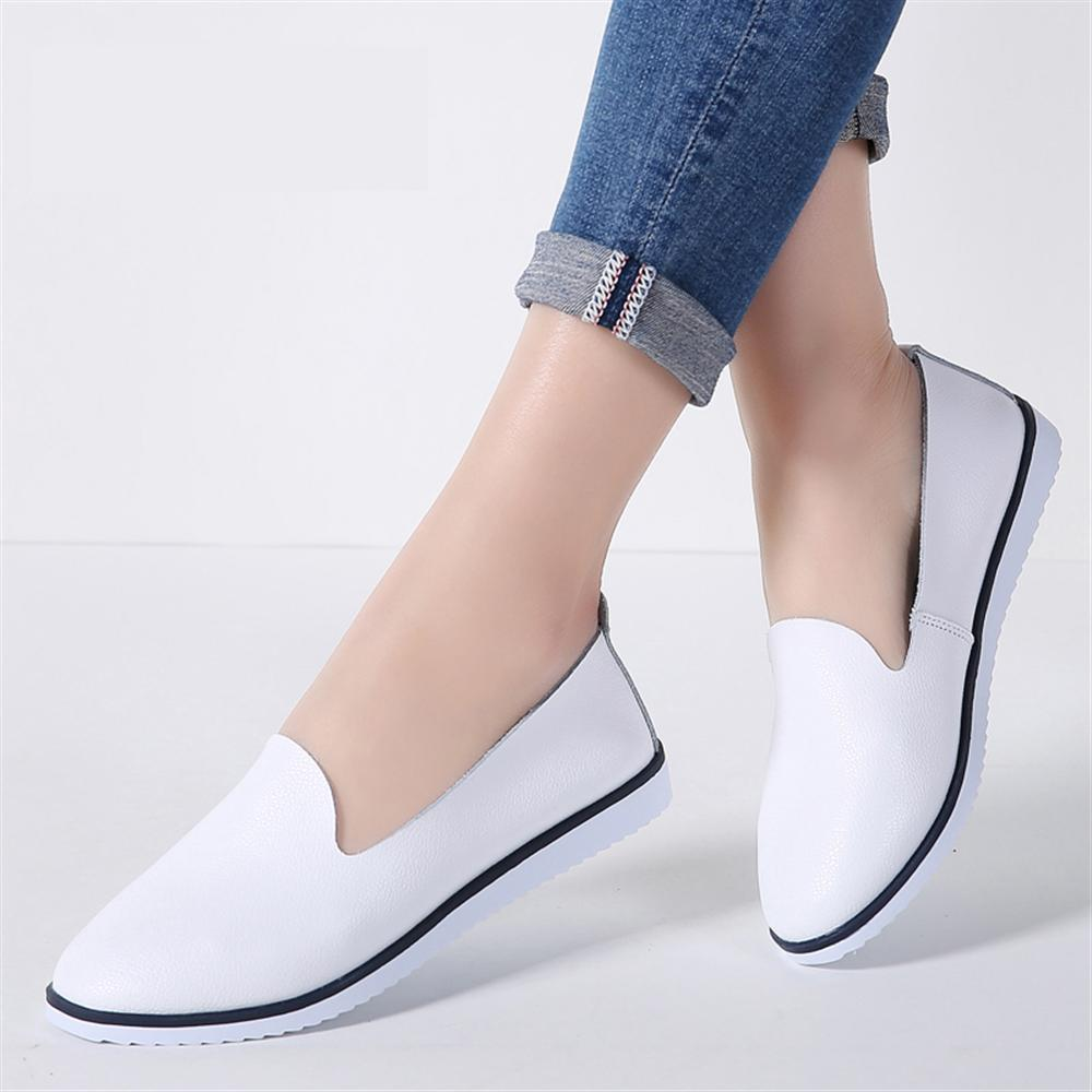 2018 spring and autumn single shoes leather mother shoes flat with sports casual leather ...