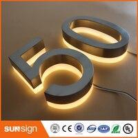 Aço inoxidável Backlit iluminado frente de loja de Sinalização para a Publicidade 3D LED letras sinais