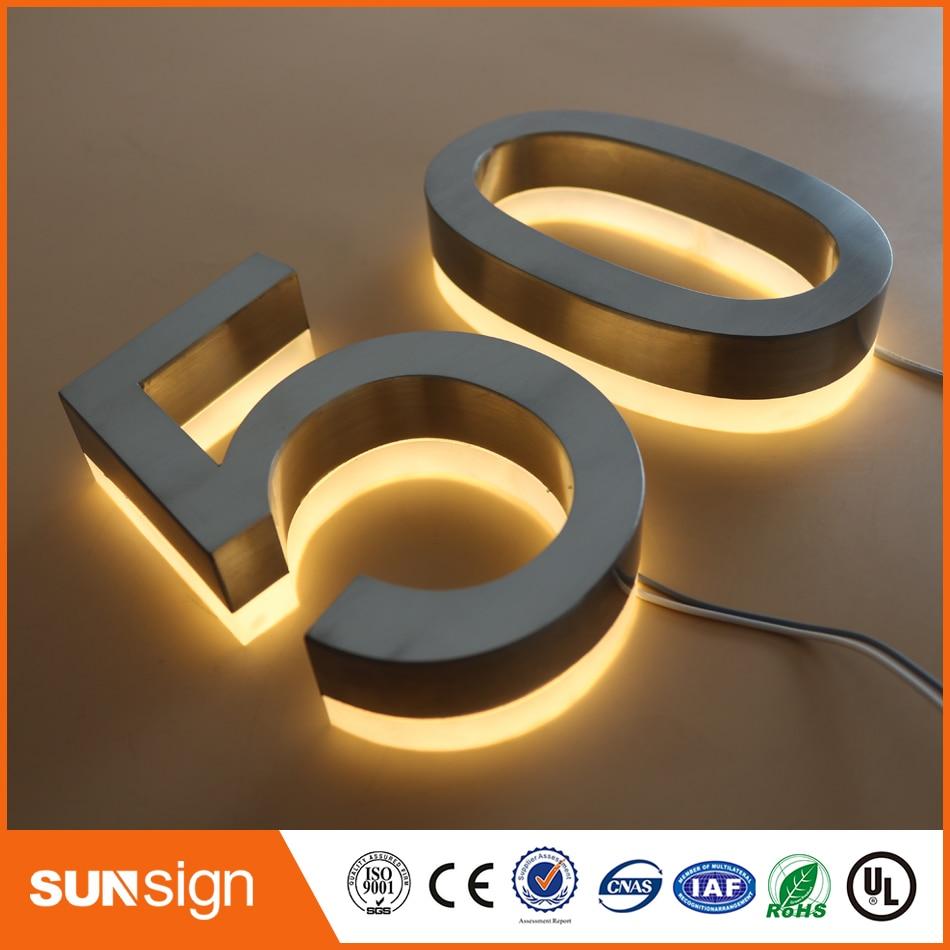 Backlit stainless steel signage for advertising 3d for D sign shop