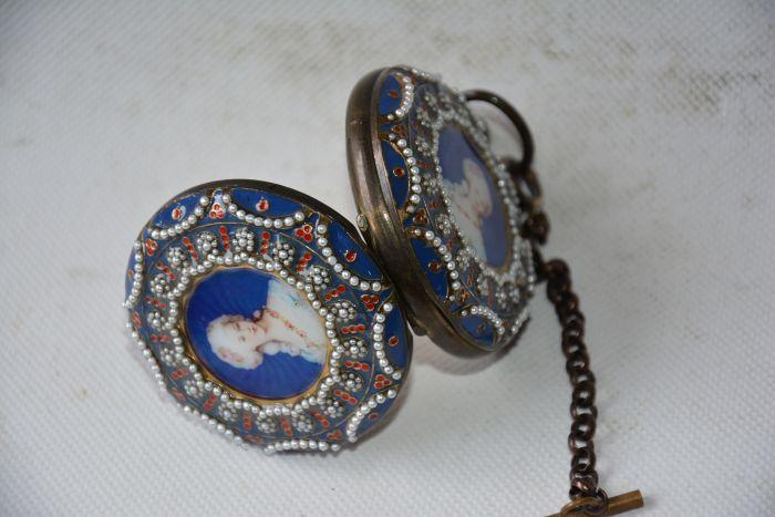 Rare ancienne dynastie Qing horloge en verre en laiton royal \ montre de poche mécanique, pierres incrustées, peuple occidental, peut travailler, livraison gratuite - 2