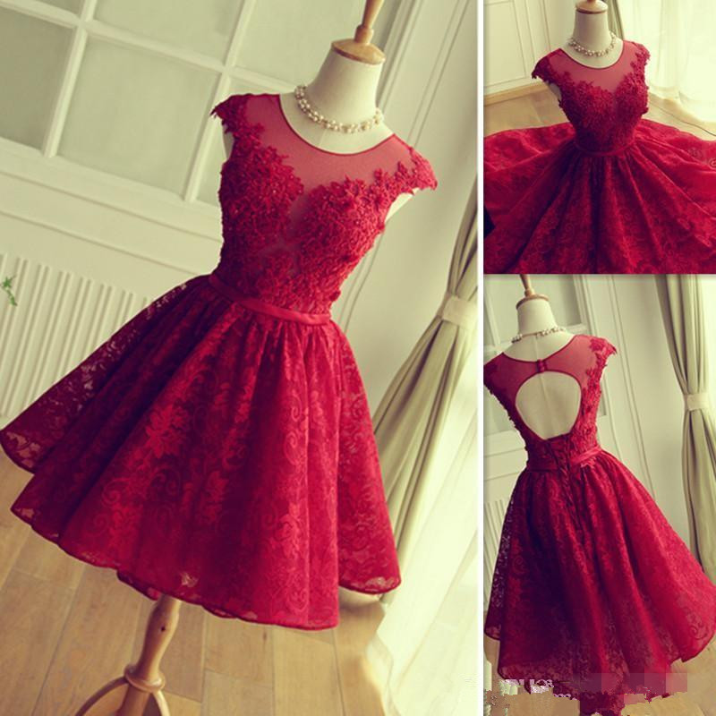 2019 Red Lace Prom Dresses Short Mini Skirt Sheer Neck Tulle Appliques Graduation Homecoming Party Gowns Vestidos De Fiesta