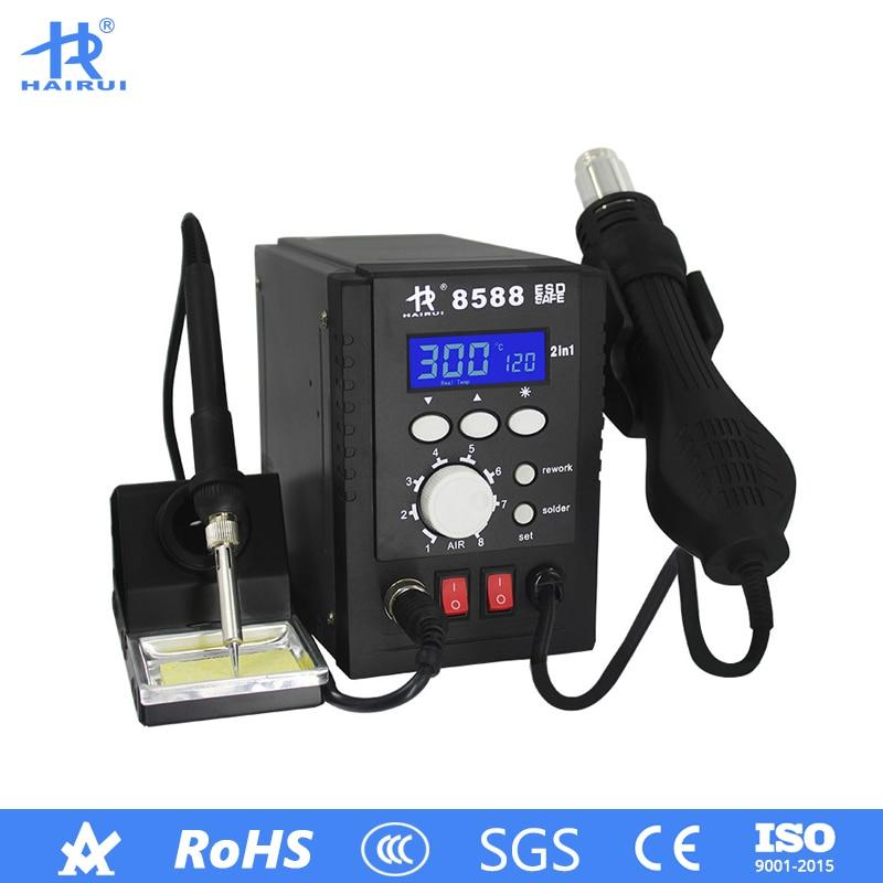 HAIRUI 8588 LCD Digital 120L/min 2 In 1 Hot Air Soldering Iron Station