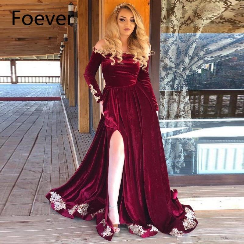 Modern Burgundy A Line   Evening     Dresses   Of the Shoulder Long Sleeve Side Split   Evening   Party   Dress   Velvet Sweep Train   Evening   Gow