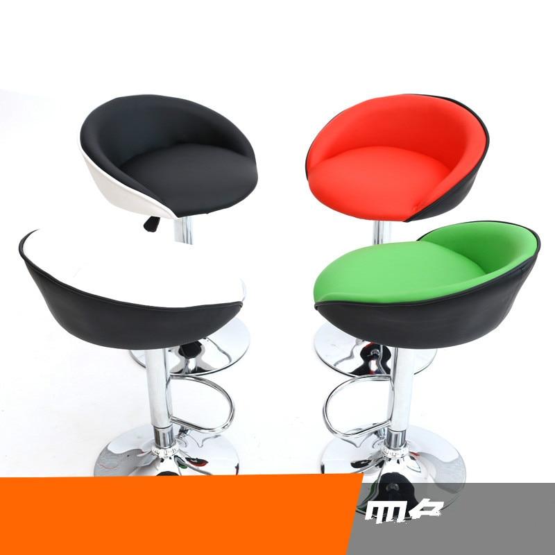 Swivel Bar Chair Lifting Bar Stool Adjustable Height High Quality PU Material High Density Sponde Cushion Cadeira 3 Colors
