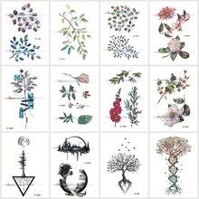 Wyuen 12 PCS/lot Flower Series Waterproof Temporary Tatoo Stickers Leaf Plant Fake Tattoo for Women Body Art Tree Tattoos JY-035