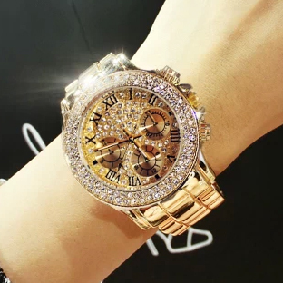 2017 New High Quality Luxury Crystal Diamond Watches Women Gold Watch Steel Stri