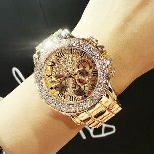 2017 New High Quality Luxury Crystal Diamond Watches Women Gold Watch Steel Strip Rose Gold Sparkling Dress Wristwatch Drop Ship
