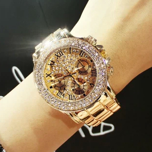2019 New High Quality Luxury Crystal Diamond Watches Women Gold Watch Steel Strip Rose Gold Sparkling Dress Wristwatch Drop Ship