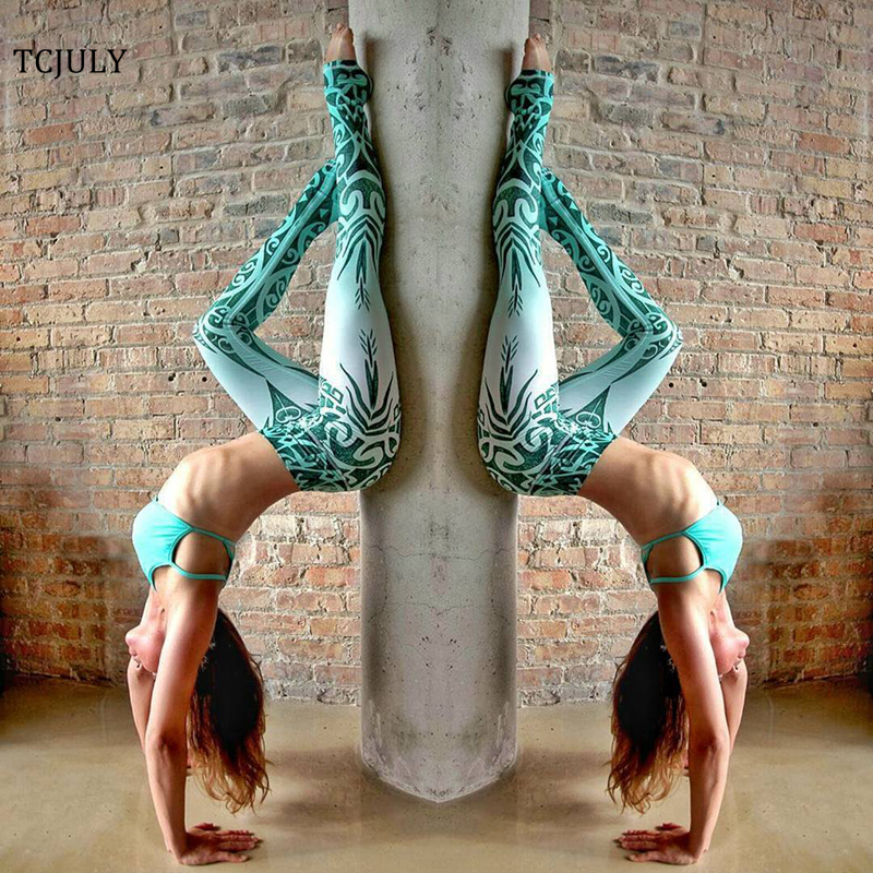 TCJULY New Design Totem Print Leggings Women High Waist Skinny Push Up Ankle Length Pants Quick Dry Flex Stretch Fitness Leggins