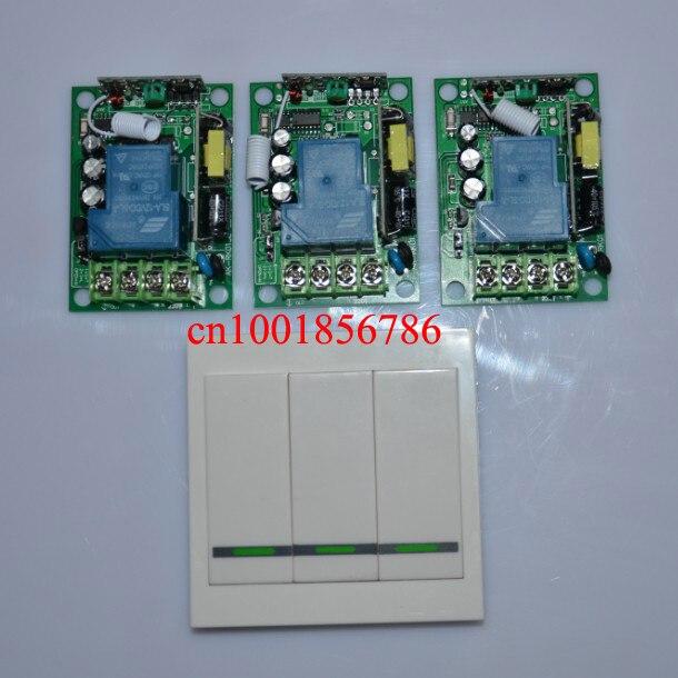 AC85V- 250V 3000W 110V 220V RF Wireless Remote Control 3Pcs switch and 3pole switch For Smart/smatr Home light ac 250v 20a normal close 60c temperature control switch bimetal thermostat
