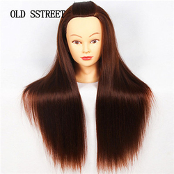 Manequim Cabeça Com Cabelo Comprido Sintético profissional Para Penteados Cabeças de Manequim de Treinamento Com Grampo E Tesoura Do Barbeiro Manequim