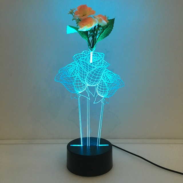 Captivating Flower Arrangement 3d Rose Lamp 7 Color Led Night Lamps For Kids Touch Led  Usb Table