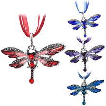 Vintage Shiny Rhinestone Inlaid Dragonfly Pendant Women Insect Necklace Jewelry hot new myl 11 shiny crystal inlaid peasecod pendant zinc alloy necklace platinum