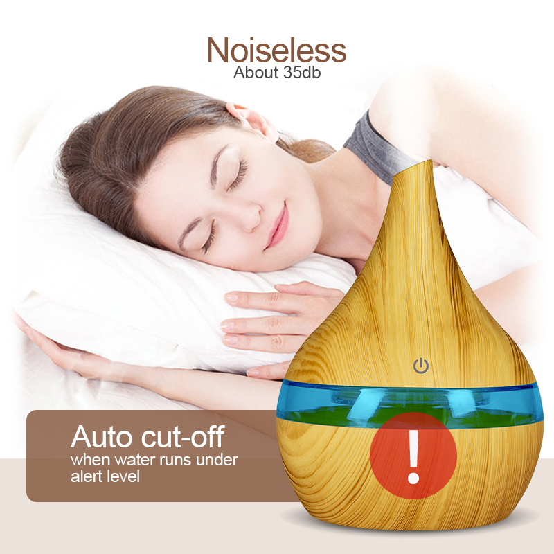 300ml Ultrasonic Aromatherapy Diffuser Wood Grain Ultrasonic Cool Mist Humidifier for Office Home Bedroom Living Room in Humidifiers from Home Appliances