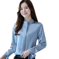 High Quality 2018 Women Spring Office Silk Blouse Basic Shirts Long Sleeve Women Chiffon Causal Tops