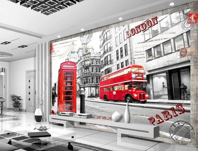 us $15 3 49% off tv backdrop streets of london papel parede mural wallpaper 3d mural paintings papel parede in wallpapers from home improvement on