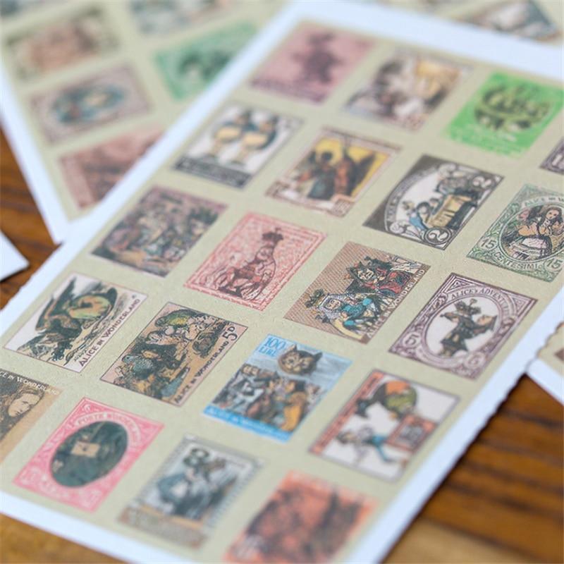 4pcs/lot New DIY vintage Alice series stamp paper sticker 4 sheets Decoration label Diary Album Scrapbooking Seal Sticker