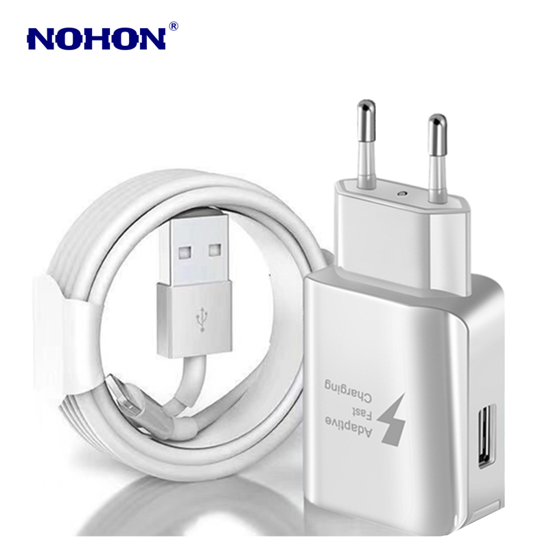 Kit 1M USB Cable+USB Fast Charger For iPhone X XS Max XR 5S 6 6S 7 8 Plus USB Charging Cable EU Plug Travel Wall Charger Adapter 1