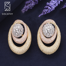 SISCATHY Classic Geometric AAA Cubic Zirconia African Nigerian Wedding Earrings Stud Fashion Jewelry Womens Accessories
