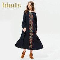 Bohoartist Coton Femmes O-cou Robe 2017 Automne Femmes Broderie Robe Femmes Cheville Longueur Robe Géométrique Femmes Jour Robe