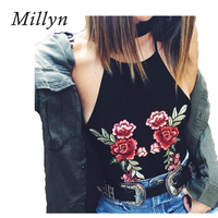 Millyn Women Sexy Embroidery Rose Camisole Tops Summer Beach Tank Sexy Fashion Crop Tops Sexy Hot