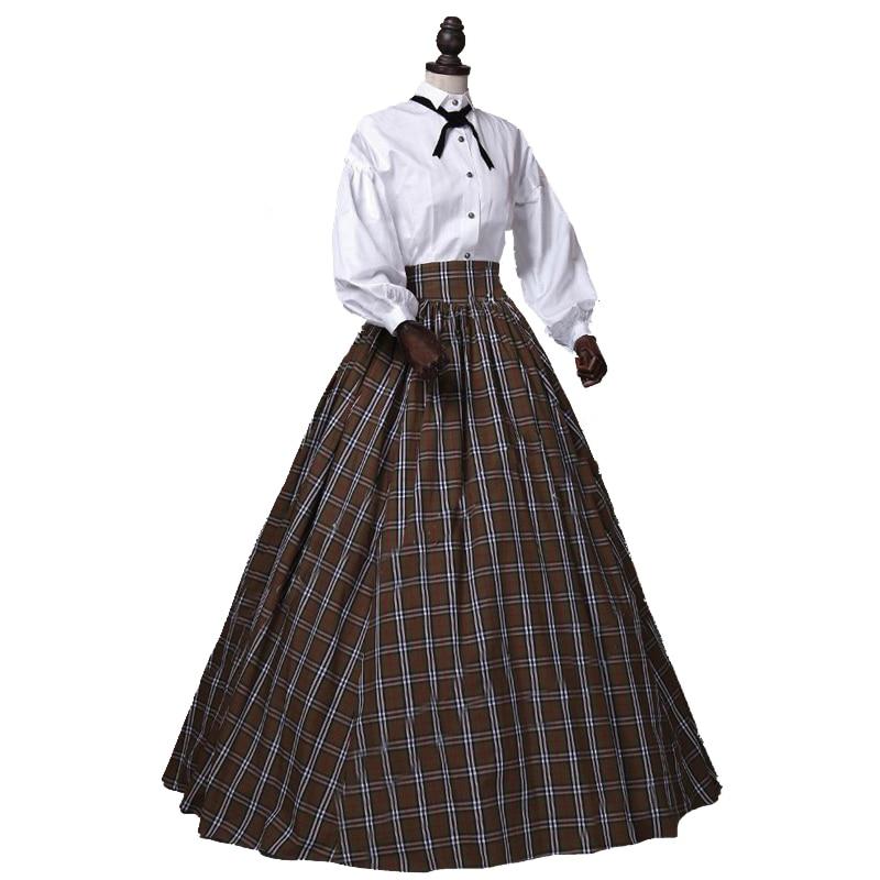 Викторианской Гражданская война страна платье в клетку Old West платье воссоздание костюма
