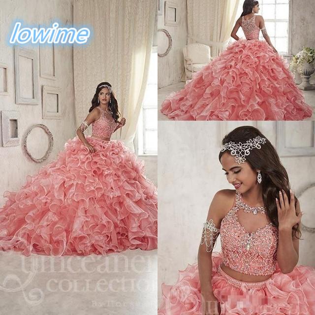 Organza Sparkly Cristal Dois PiecesCoral Novos Vestidos Quinceanera 2016 Faça O Costume Babados Saia Doce 15 Meninas Vestido Formal