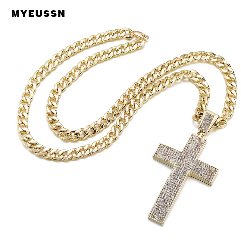 Arc-shaped Cross Iced Out Bling Bling Crystal Pendant For Men Charm Chain Necklace Father's Day Fashion Gift Hip Hop Jewelry
