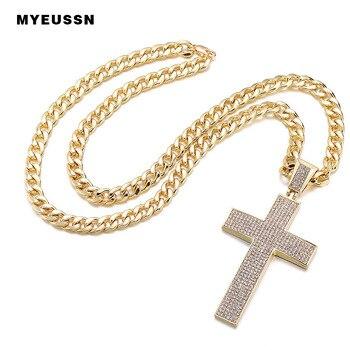 2ce8f2763540 En forma de arco Cruz helado Bling colgante de cristal para hombres encanto  collar de cadena de padre día de regalo de moda joyería de Hip Hop