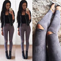 Pantalones Vaqueros Del Agujero de las mujeres Con Cintura Alta 2016 Primavera Lápiz Leggings otoño Pantalones Vaqueros Del Agujero de la Rodilla Pantalones de Mezclilla Skinny Jeans Sexy Para mujeres