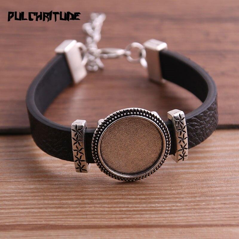 1pcs PU Bracelets Bangles Base Setting Cuff Blank Trays Brazel Fit 18mm Glass Cameo Dome Cabochon DIY Jewelry Findings P6711