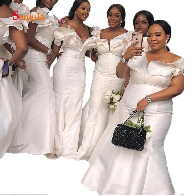 Ivory Satin Mermaid Wedding Party   Dress   for Women Sweetheart Tiered Ruffles African   Bridesmaid     Dresses   Long vestido longo D255