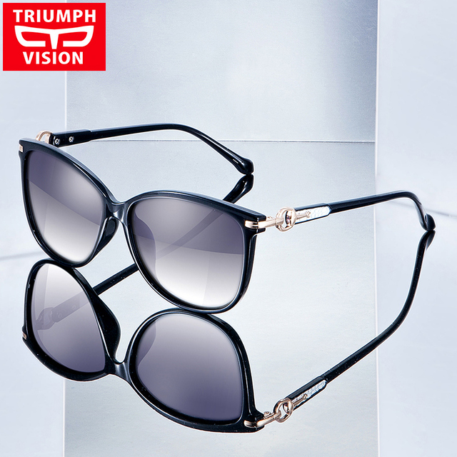 TRIUMPH VISION Mix Leather Female Sunglasses Polarized UV400 Driving Sun Glasses For Women Luxury Elegant Gradient Lens Shades