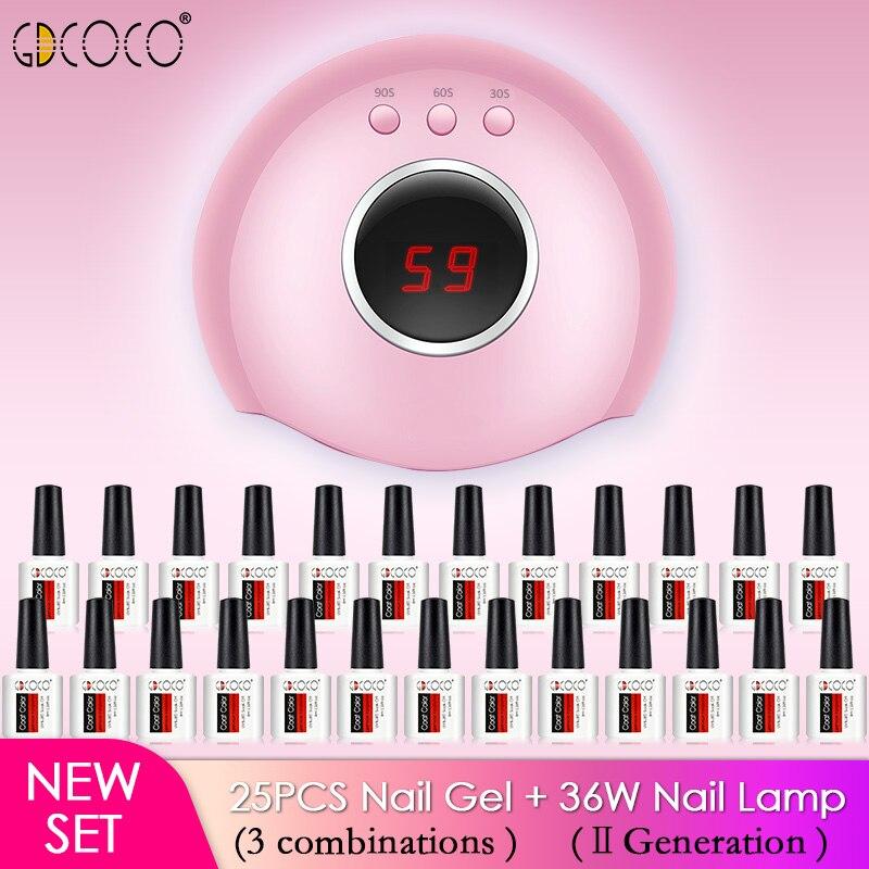 New nail kit 25pcs GDCOCO nail polish gel 3 step soak off 12 watts led nail