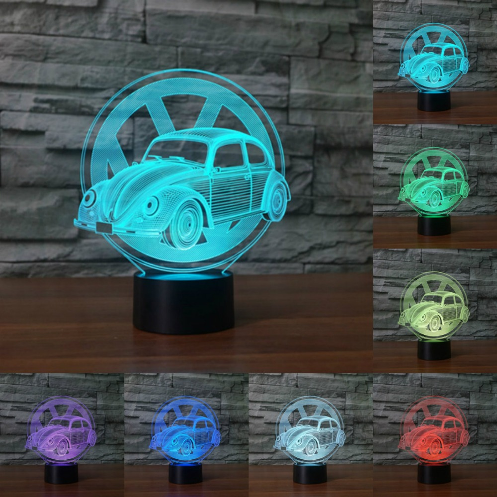 Creative car sign 3D light Night Light 7 Color Change Acrylic LED Table Lamp USB light Bedroom as Gift for Decoration lighting