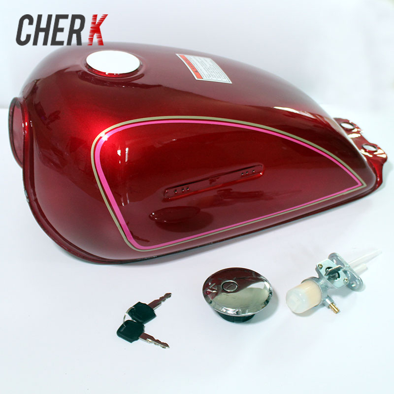 Cherk 1PCS New Motorcycle Accessories Red Iron Vintage Gas Fuel Tank Oil Box For SUZUKI GN250 GN 250 All Year Custom Universal rubing matching motorcycle accessories gn250 did9 timing chain in pieces